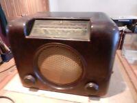JOB LOT --- OLD BUSH BAKELITE RADIO (WORKING) - ALSO VALVE RADIO,BAROMETER.MIRROR-SPARES OR REPAIR