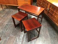 Dark Teak Triform Metamorphic Nest of Tables by McIntosh of Kirkcaldy. Retro Vintage Mid Century