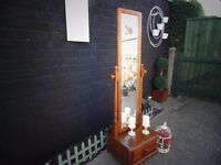 SOLID PINE FARMHOUSE FLOOR STAND MIRROR WITH 1 DRAW ABSOLUTELY STUNNING MIRROR VERY CHUNKY ONE