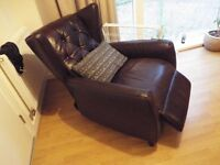 Armchair, Brown leather reclining.