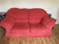 ***FREE -FREE FREE - Two red sofas - soft cushioned 3 seater and 2 seater, good condition