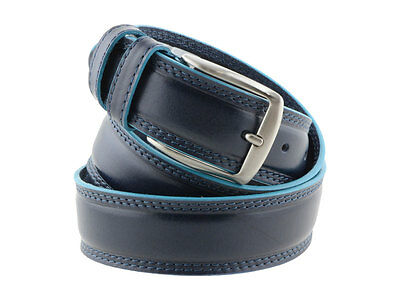 Cintura uomo in pelle blu con bordo celeste  da 4 cm made in Italy
