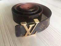 Genuine Louis Vuitton Initiales 40mm monogram luxurius mens leather belt 38/95