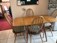 Ercol vintage drop leaf table and 4 Quaker chairs with cushions