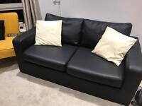 Sofa/sofa bed - black leather like new