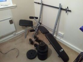 Pro Fitness weight bench + 55kg weights
