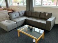 Corner sofa with footstool grey
