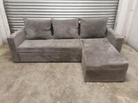 FREE DELIVERY GREY CORD FABRIC CORNER SOFA BED WITH STORAGE GREAT CONDITION