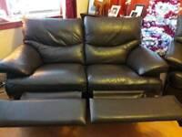 2 seater dark brown leather recliner sofa