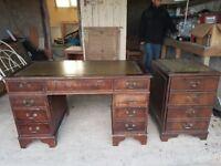 Captains Desk and Filing Cabinet