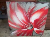 Large Bright Flower On Canvas