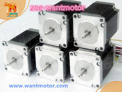 Eu Free5pcs Nema23 Wantai Stepper Motor Dual Shaft 57bygh115-003b 3.0a 425oz-in