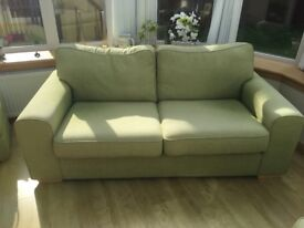 DFS 3 seater sofa, 2 seater bed settee & storage footstool