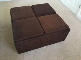 Storage Ottoman - Chocolate Microfiber Suede with 4 sections