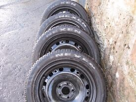 4x 15 inch winter tyres on rims fits VW,SEAT,AUDI,185/55/15