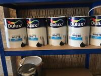 5 x 5L Tins Dulux Pure Brilliant White Matt Paint
