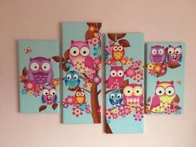 Owl design four panel canvas print
