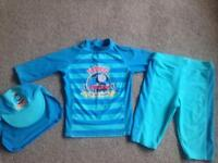 Thomas the Tank Engine UPF40+ Swimsuit and Sunhat age 4-5 yrs