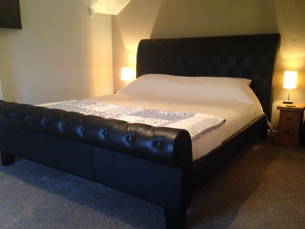 Leather Super King Sleigh Bed Como Black Upholstered