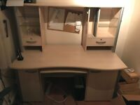 Office Desk (Beech) with display shelves