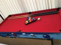Pool Table - including, triangle, balls and two cues.