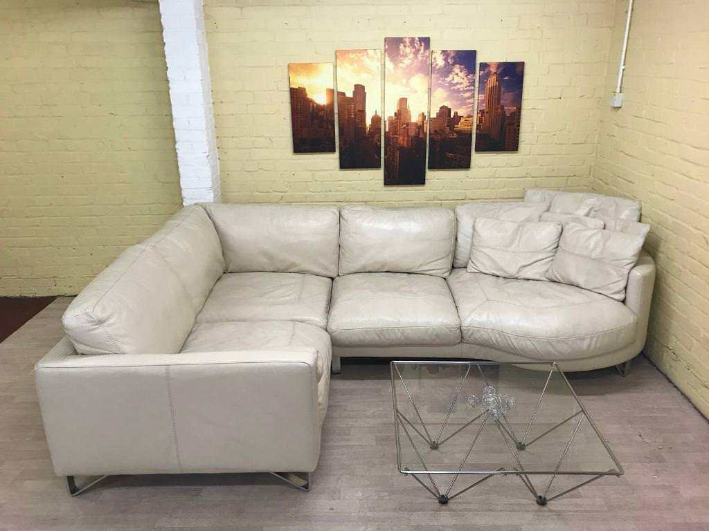Super Comfy Cream Leather Corner Sofa