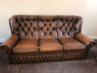 Sofa Leather button back sofa