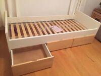 Ikea brekke Single bed frame with large storage drawers