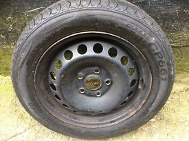 vw 5 stud steel wheel with NEW 195/55/R15 tyre fitted