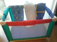 Travel Cot (BebeTour) Excellent Condition with Sheet & Mothercare Quilted Mattress .