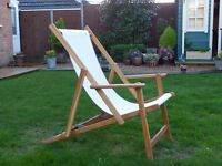 ***FINAL REDUCTION*** Old School Wood/Canvas Deck Chair with Arms - HABITAT