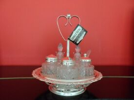 Vintage Cruet Set Silver Plate Condiment Rotating Tray Glass Jars Heart Handle