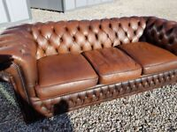 3 seater Brown Leather Chesterfield Sofa
