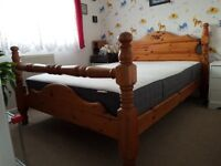Vintage, antique, pine double bed with good quality mattress.