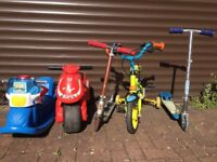 Kids bicycle, scooters, skates, toys, books etc