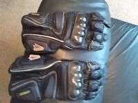 Medium to large leather bike gloves with armour NJ