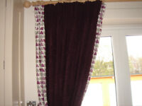 GORGEOUS HEAVY BESPOKE LINED DESIGNER CURTAINS - PATIO/BI-FOLD DOOR SIZE , (SET NUMBER 1)