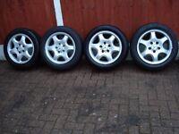 Mercedes alloy wheels / tyres (4), fit SLK, CLK C Class, E Class etc