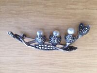 Silver And Marcasite Floral Brooch