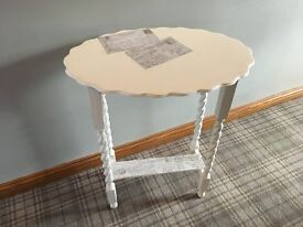 VINTAGE HALL / LAMP TABLE - PAINTED AND AGED USING CREAM AND GREY CHALK PAINTS - UNIQUE ONE OFF ITEM