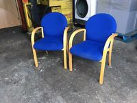 PAIR OF HIGH QUALITY BLUE OFFICE MEETING CHAIRS