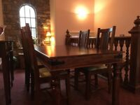 Dining table and 4 dining chairs.