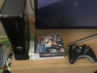 Xbox 360 250gb with 4 games and wireless controller