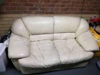 Cream leather couches