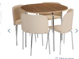 Hygena Amparo Oak Table & 4 Cream Chairs