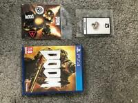 Doom (PS4) with badges and pin