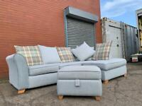 Gorgeous Grey DFS Corner sofa & foot stool delivery 🚚 sofa suite couch furniture