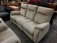 Beige Fawn, Fabric Comfy Elecric Reclining Sofa and Armchairs