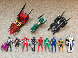Large collection of PowerRangers Action Figures (x9) with vehicles (x3) in Good Condition