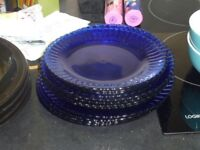 Blue glass plates.